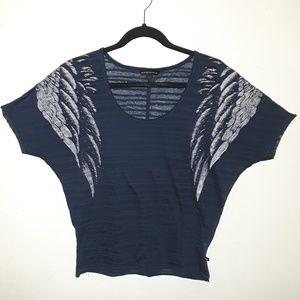 Rock & Republic baby blue short sleeved shirt.